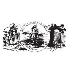 seal commonwealth virginia 1876 vintage vector image