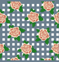 Seamless pattern of tea roses on the background vector