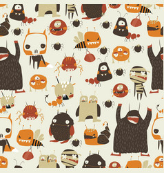 seamless pattern with cute colorful monsters vector image