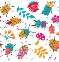 seamless pattern with cute small beetles and vector image
