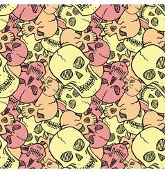 Seamless pattern with random skulls vector