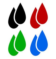 set of liquid drops oil blood biofuel water drop vector image