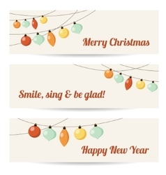 Set of retro banners with garlands christmas vector