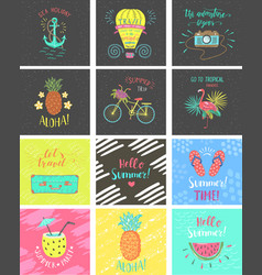 set of summer color hand-lettering labels and vector image