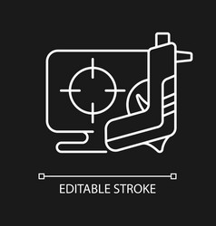 shooter game white linear icon for dark theme vector image