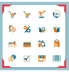 shopping icons in a frame series vector image