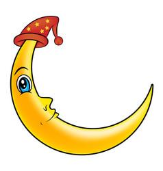 sleeping moon with cat symbol icon design vector image