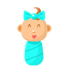 Small happy newborn baby girl swaddled in blue vector