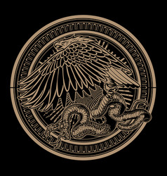snake and eagle on circle gold vintage logo vector image