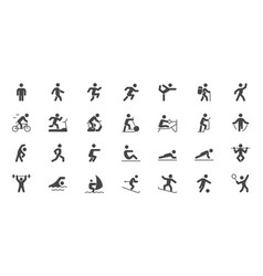 Sport people simple flat glyph icons vector
