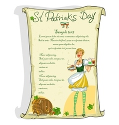 St patricks day poster with sample text vector