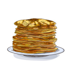 stack pancakes on plate full color vector image