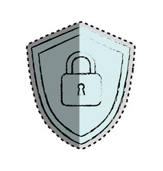 Sticker monochrome blurred of shield with padlock vector