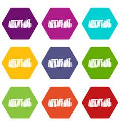 stonehenge icon set color hexahedron vector image