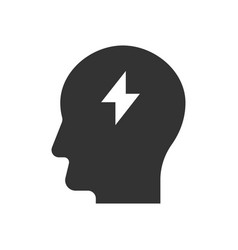 thunder inside head icon vector image