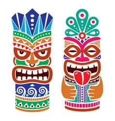 Tiki pole totem color design - traditional vector