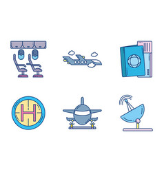 Travel aviation transport airport icons vector
