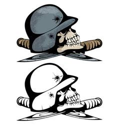 Two skulls in military helmets vector
