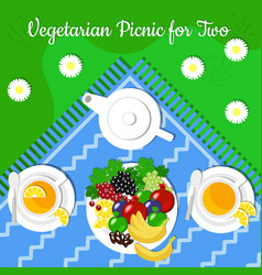 Vegetarian picnic for two fruits set for tea vector