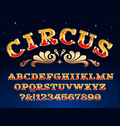 Vintage circus font victorian carnival headline vector