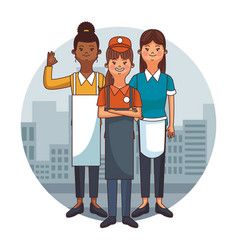 waiters people cartoons vector image