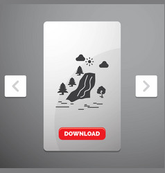 Waterfall tree pain clouds nature glyph icon in vector