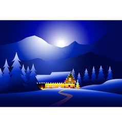 winternight and happy Christmas night vector image