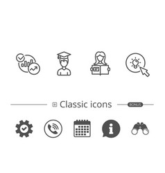 Woman hold book charts and idea icons vector