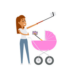 Young mother and baby in pram both making selfie vector