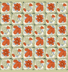 abstract tiles with flowers and leaves vector image vector image