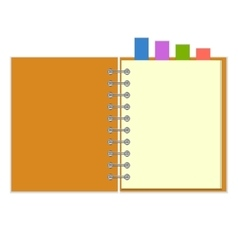 Blank notebook with colorful bookmarks vector image vector image