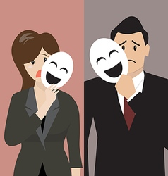 Business man and woman holding a fake mask vector image vector image
