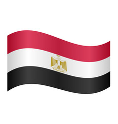 flag of egypt waving on white background vector image vector image