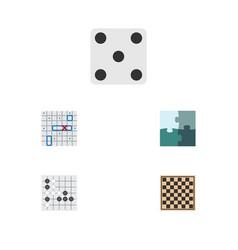 flat icon play set of chess table gomoku jigsaw vector image vector image