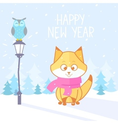 fox winter vector image vector image