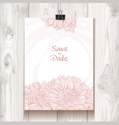 Invitation with chrysanthemum hanging on binder vector image
