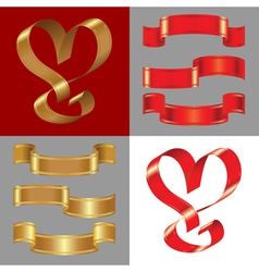 shiny gold and red ribbons vector image vector image