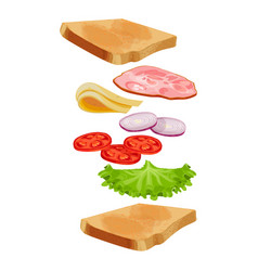 toasted loaf of bread with lettuce salad fresh vector image