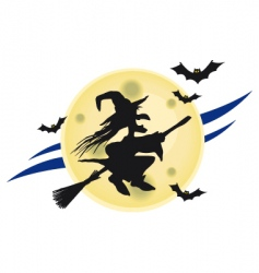 witch on broomstick vector image vector image