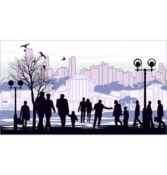 black silhouettes of people on town outline vector image vector image