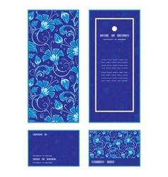Dark blue turkish floral vertical frame vector