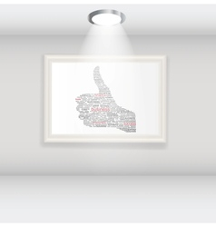 Hand signal on white frames in art gallery vector image vector image