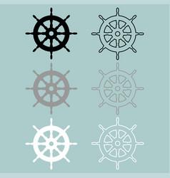 ships wheel black grey white colour icon vector image