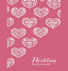 white lacy hearts on pink - romance wedding vector image vector image