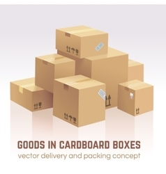 Goods in cardboard boxes delivery and vector image