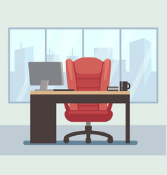 modern boss room with big window and laptop on vector image vector image