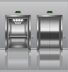 open and closed elevator vector image