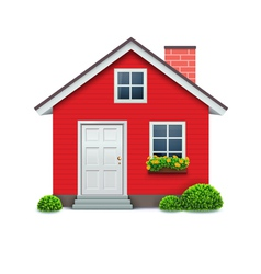 red house icon vector image vector image