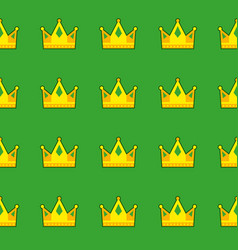 seamless green crown pattern background vector image
