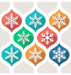 Set of flat colored simple winter snowflakes vector image